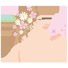 お花でおしゃれをしている女性